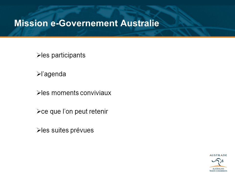 Mission e-Governement Australie