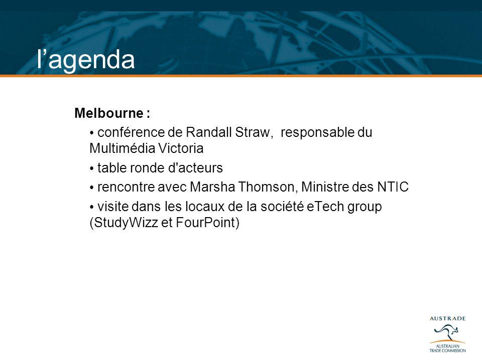 l'agenda Melbourne : conférence de Randall Straw, responsable du Multimédia Victoria. table ronde d acteurs.