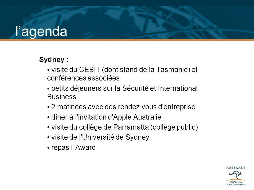 l'agenda Sydney : visite du CEBIT (dont stand de la Tasmanie) et conférences associées. petits déjeuners sur la Sécurité et International Business.