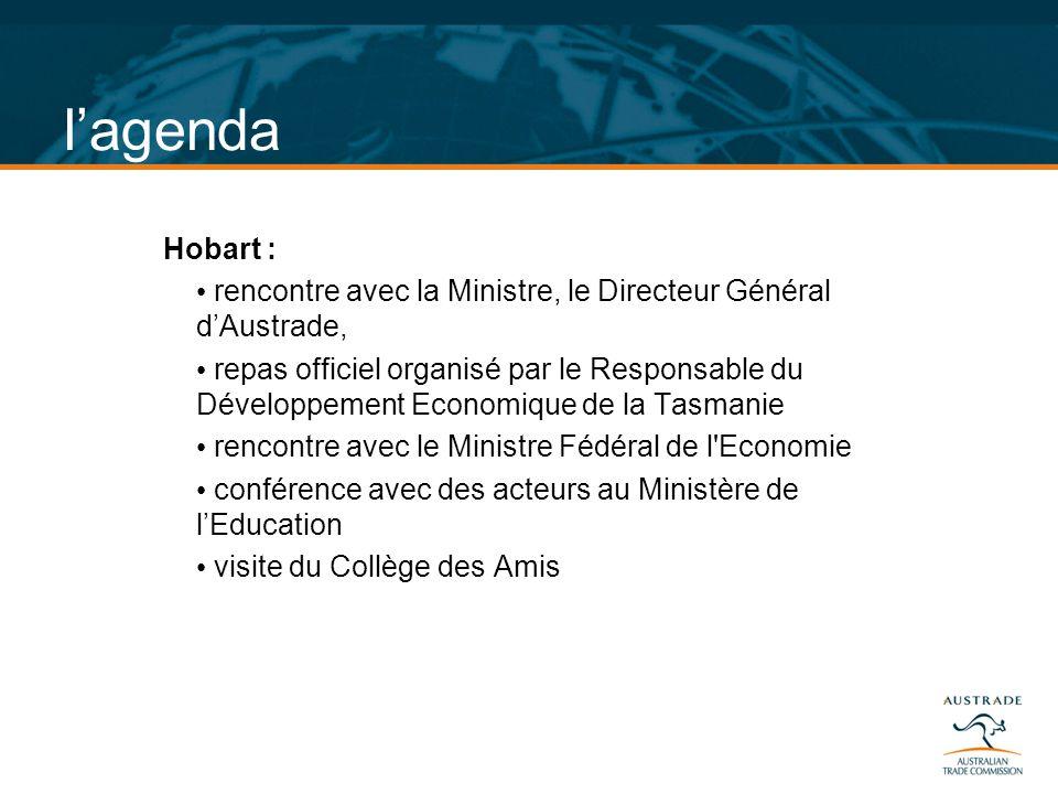 l'agenda Hobart : rencontre avec la Ministre, le Directeur Général d'Austrade,