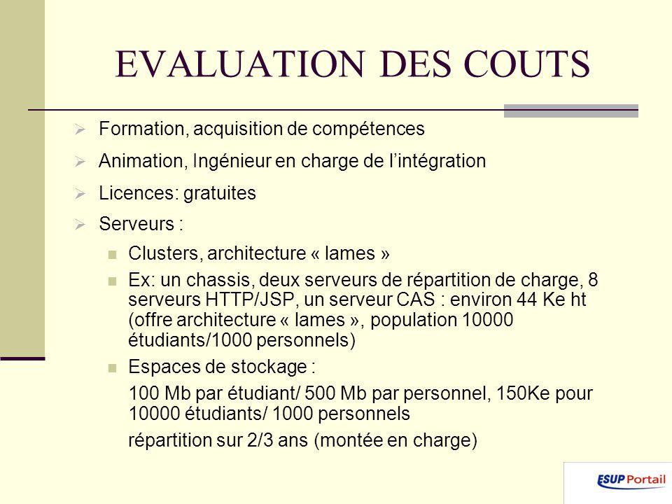 EVALUATION DES COUTS Formation, acquisition de compétences