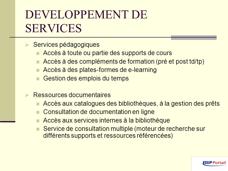 DEVELOPPEMENT DE SERVICES