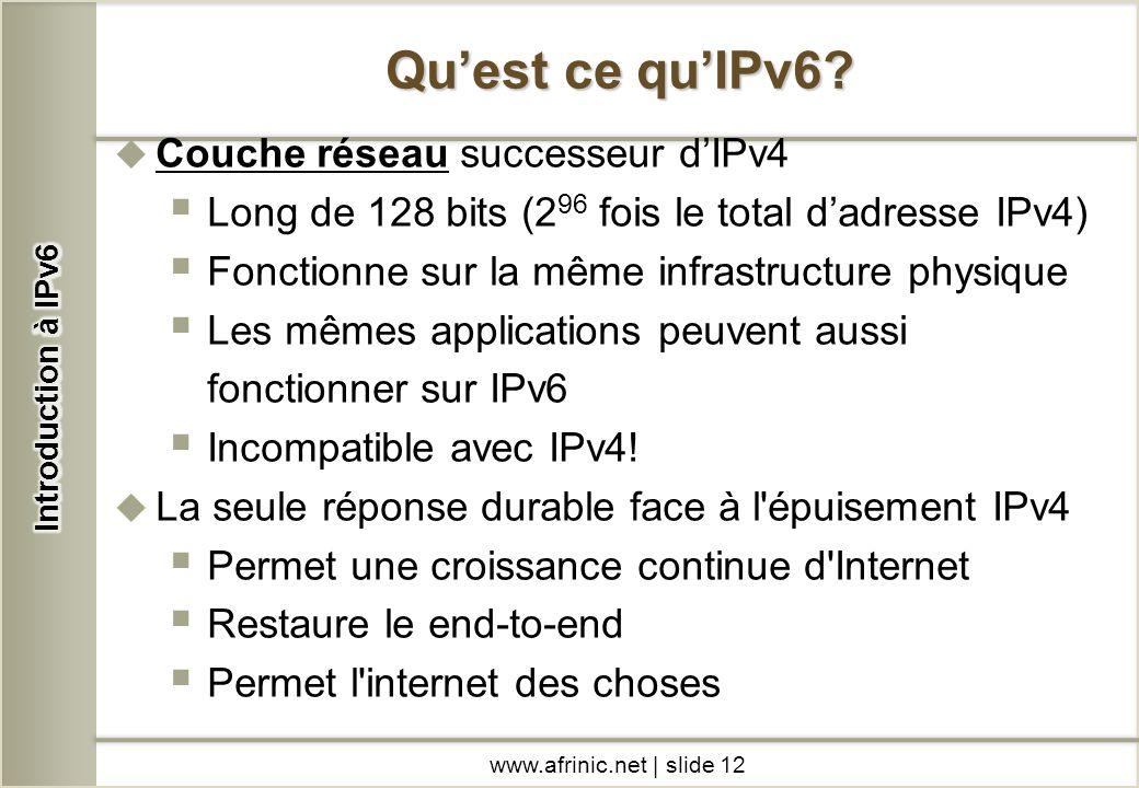 Qu'est ce qu'IPv6 Couche réseau successeur d'IPv4
