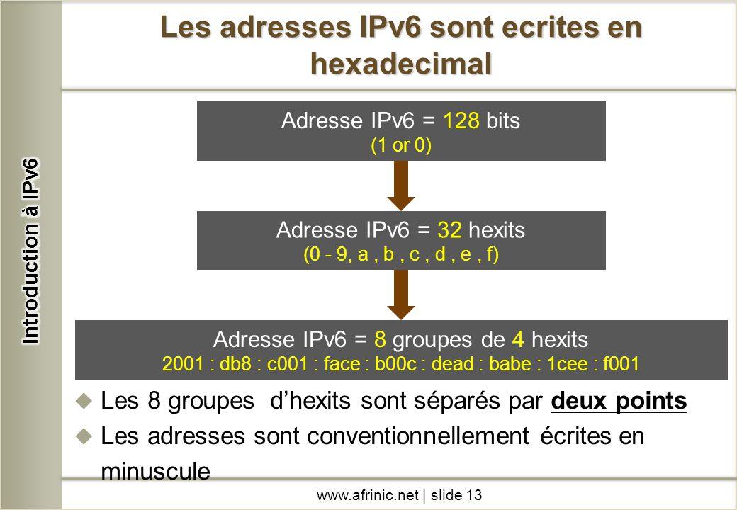 Les adresses IPv6 sont ecrites en hexadecimal