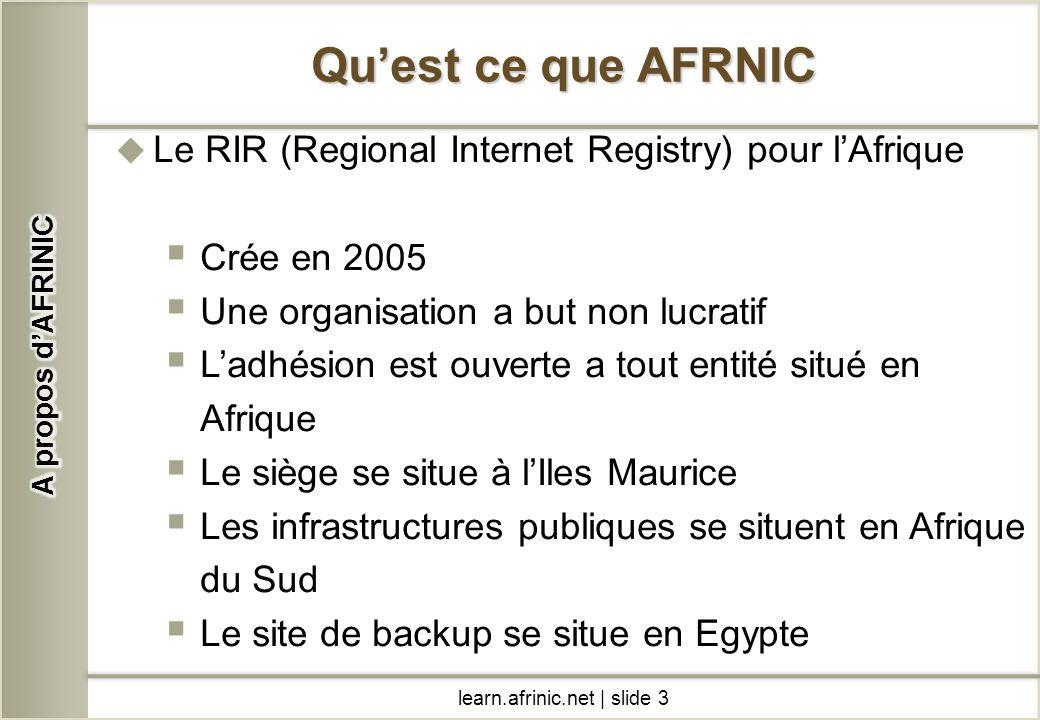 A propos d'AFRINIC Qu'est ce que AFRNIC. Le RIR (Regional Internet Registry) pour l'Afrique. Crée en 2005.