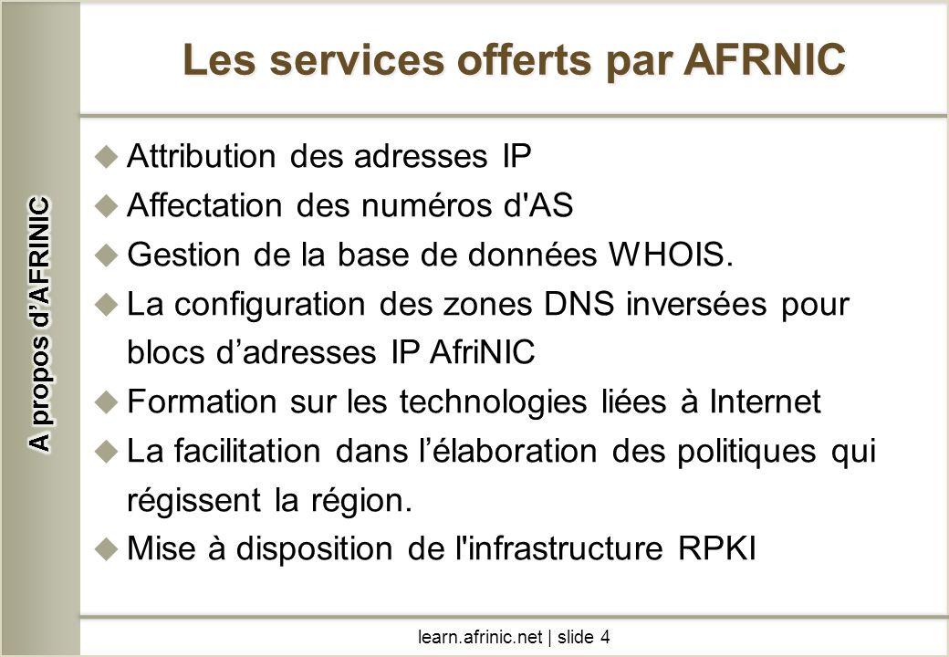 Les services offerts par AFRNIC