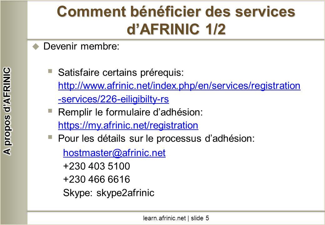 Comment bénéficier des services d'AFRINIC 1/2