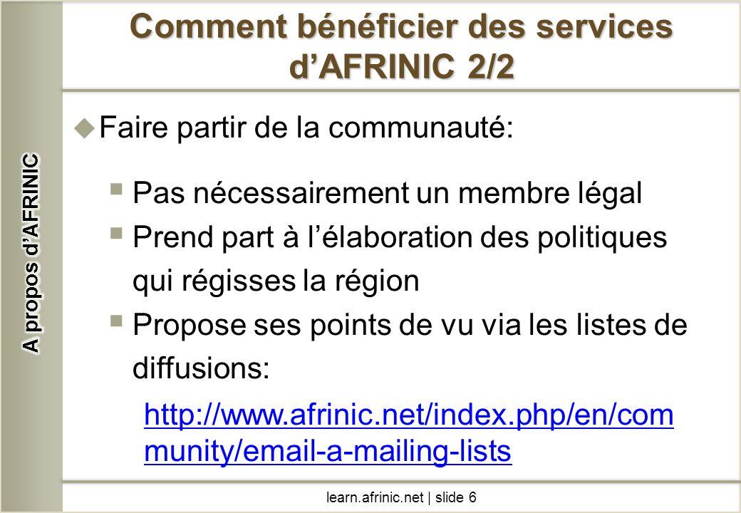 Comment bénéficier des services d'AFRINIC 2/2