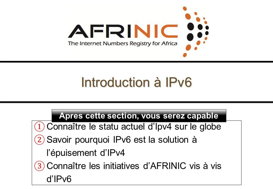 Introduction à IPv6 Connaître le statu actuel d'Ipv4 sur le globe