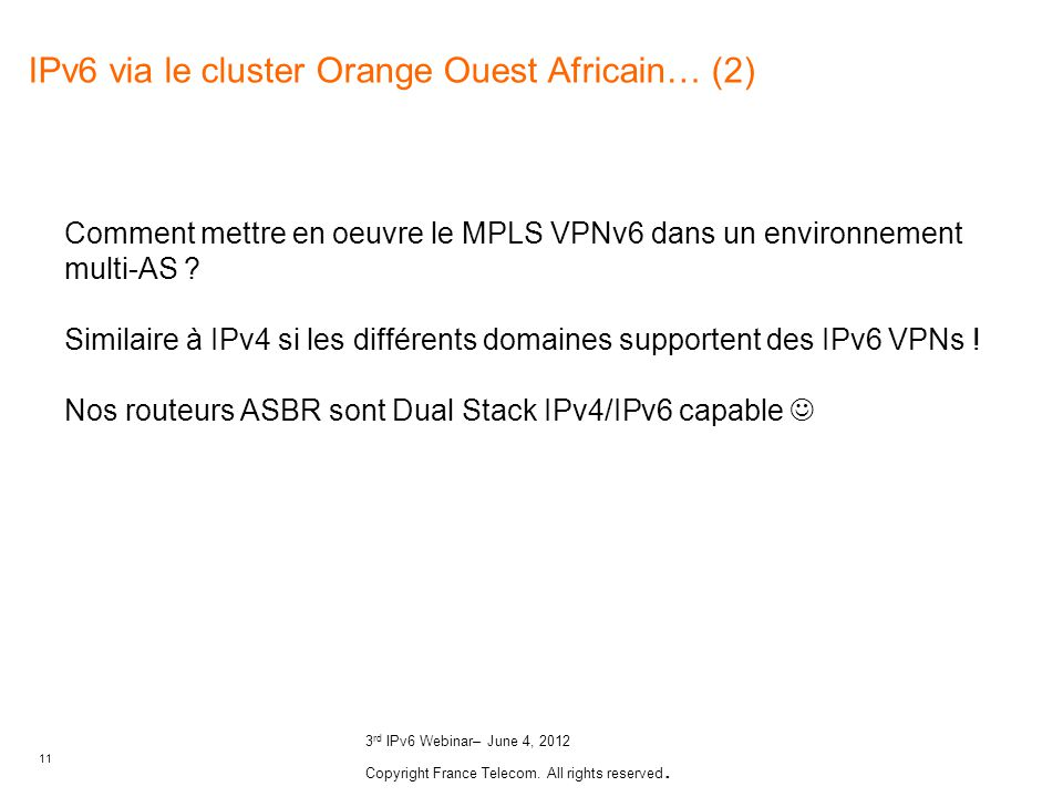 IPv6 via le cluster Orange Ouest Africain… (2)