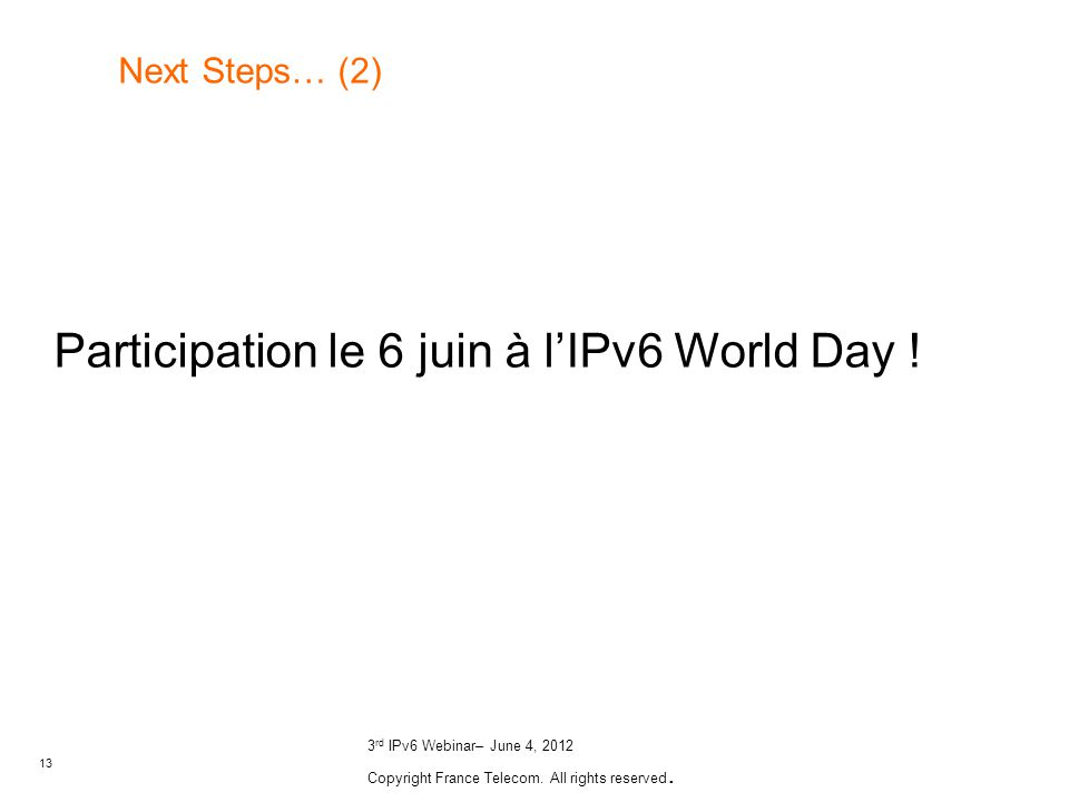 Participation le 6 juin à l'IPv6 World Day !