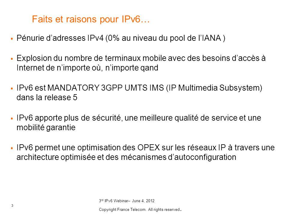 Faits et raisons pour IPv6…