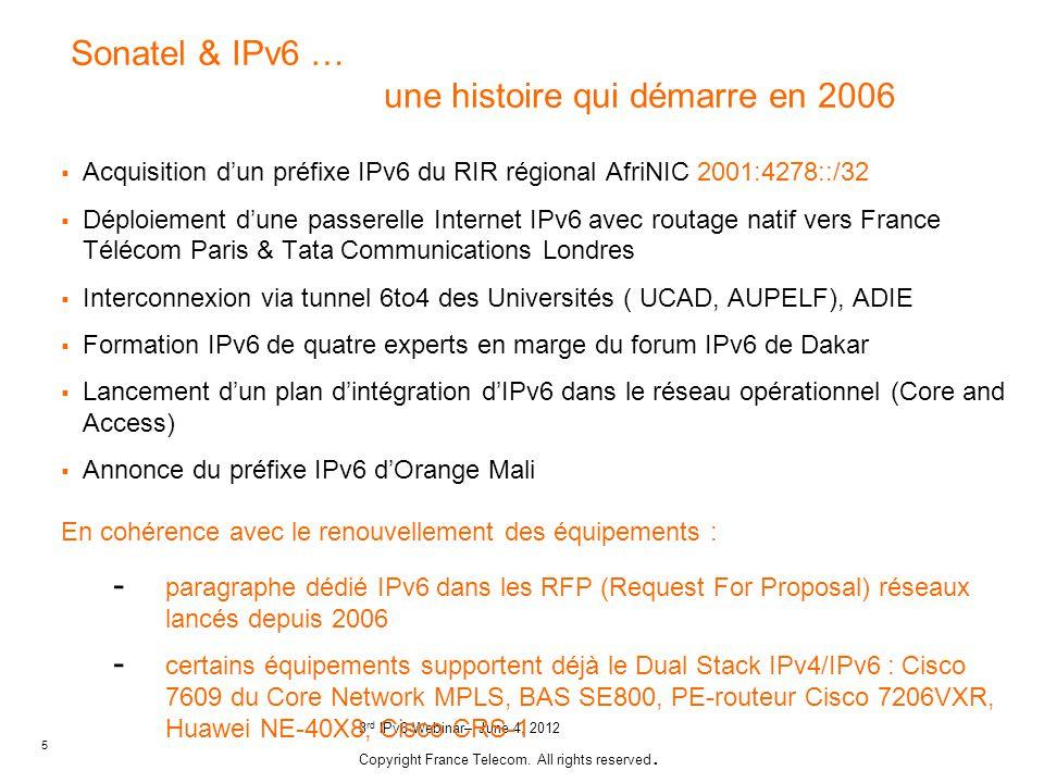 Sonatel & IPv6 … une histoire qui démarre en 2006