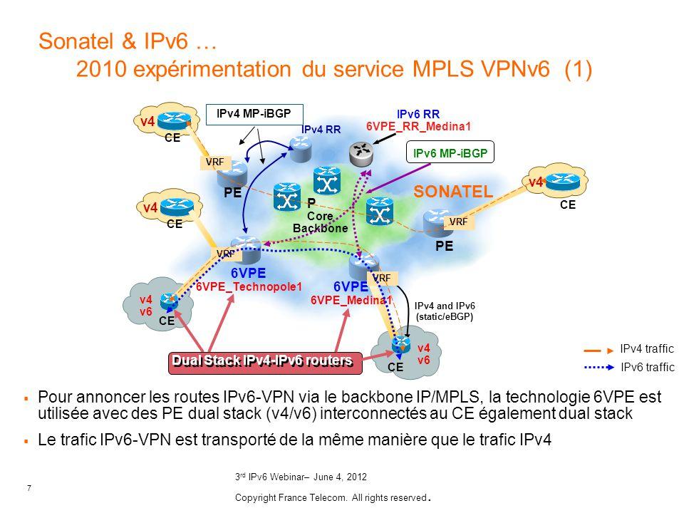 Sonatel & IPv6 … 2010 expérimentation du service MPLS VPNv6 (1)