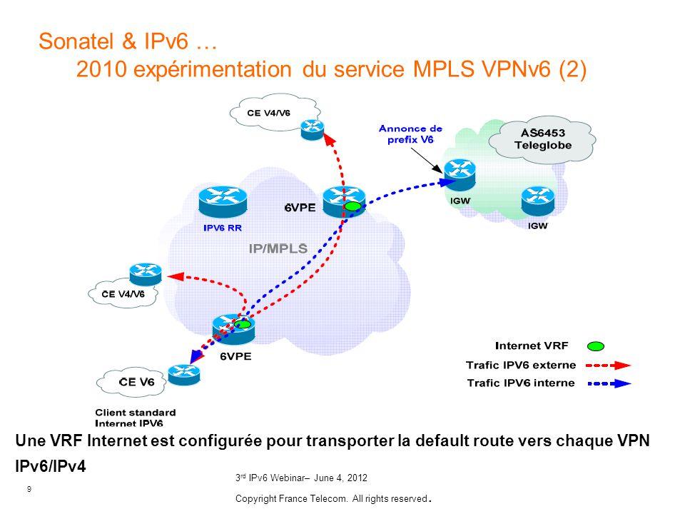 Sonatel & IPv6 … 2010 expérimentation du service MPLS VPNv6 (2)