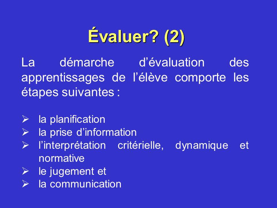 Évaluer (2) La démarche d'évaluation des apprentissages de l'élève comporte les étapes suivantes :