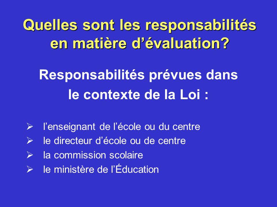 Quelles sont les responsabilités en matière d'évaluation