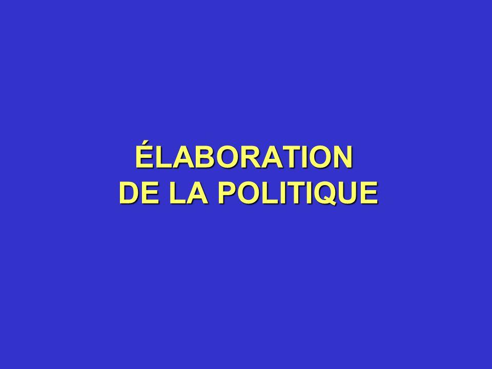 ÉLABORATION DE LA POLITIQUE