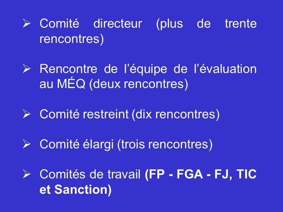 Comité directeur (plus de trente rencontres)