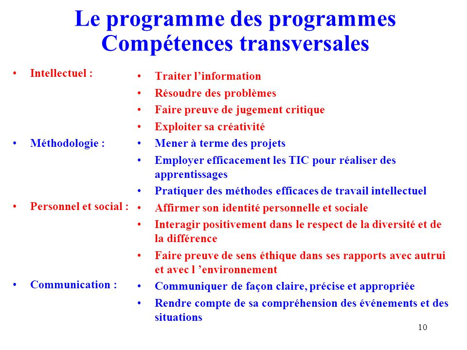 Le programme des programmes Compétences transversales