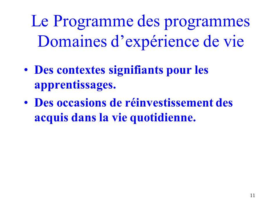 Le Programme des programmes Domaines d'expérience de vie