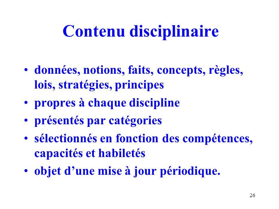 Contenu disciplinaire