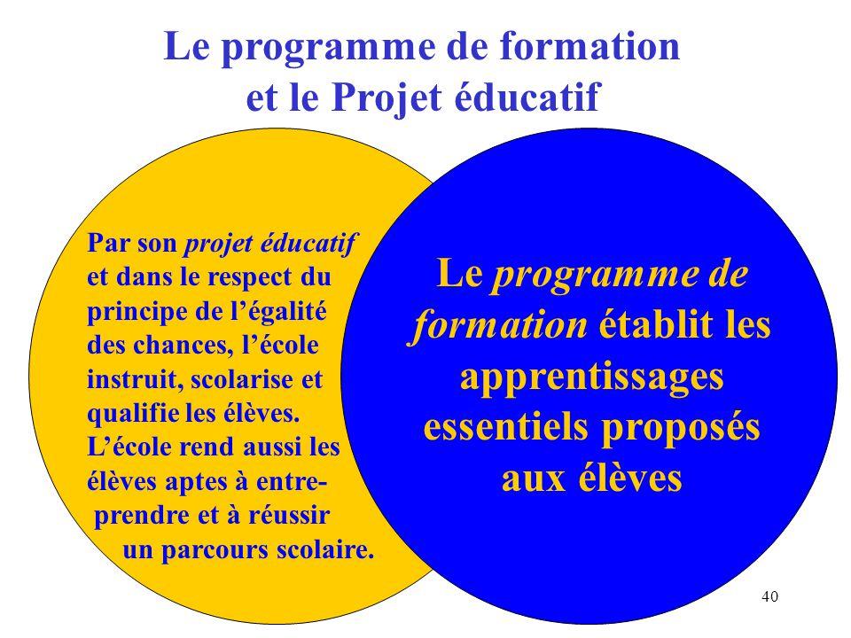 Le programme de formation et le Projet éducatif