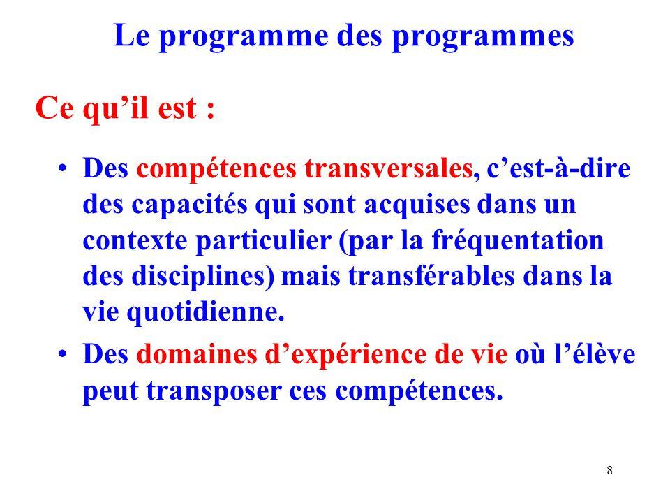 Le programme des programmes Ce qu'il est :