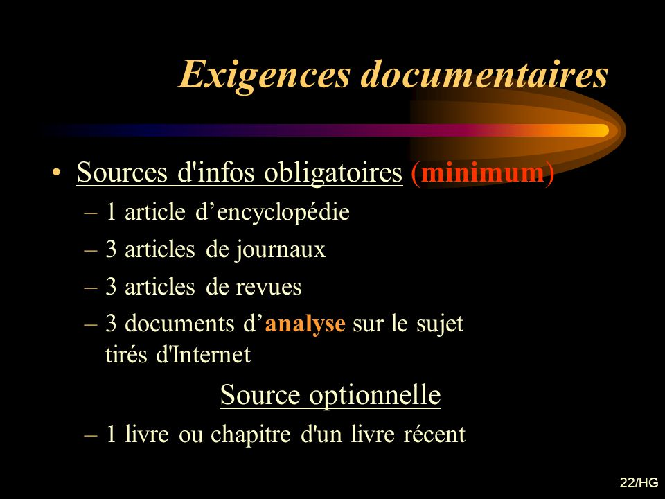 Exigences documentaires
