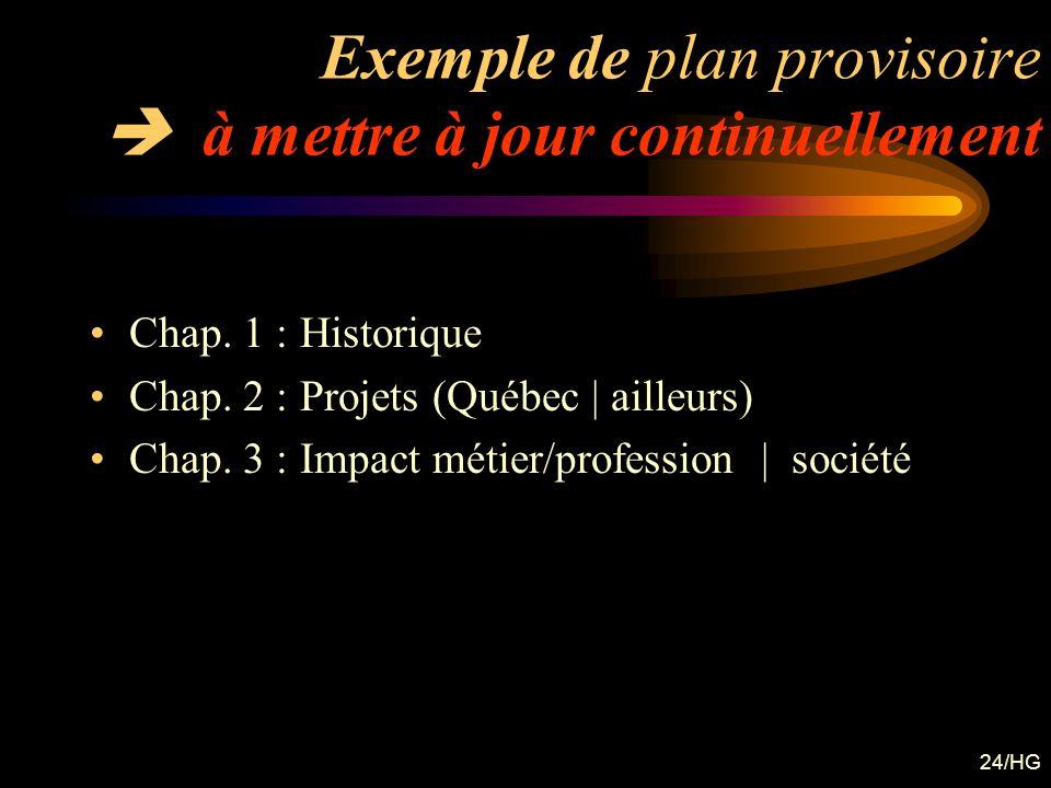Exemple de plan provisoire  à mettre à jour continuellement