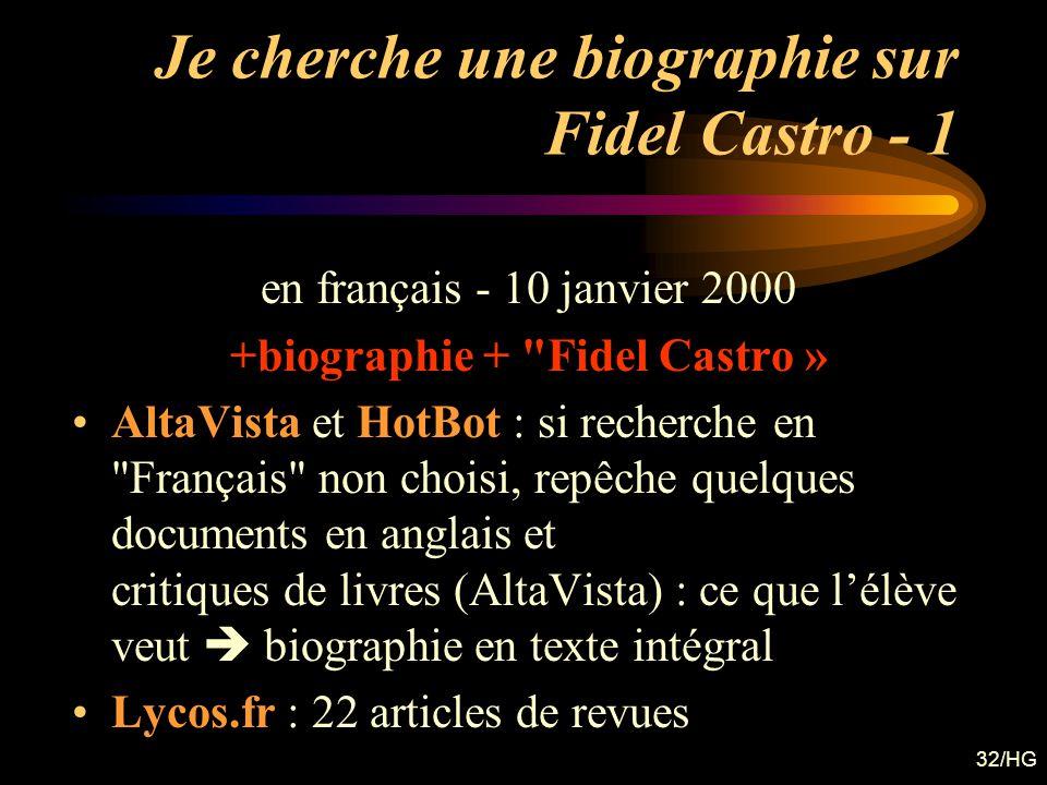 Je cherche une biographie sur Fidel Castro - 1