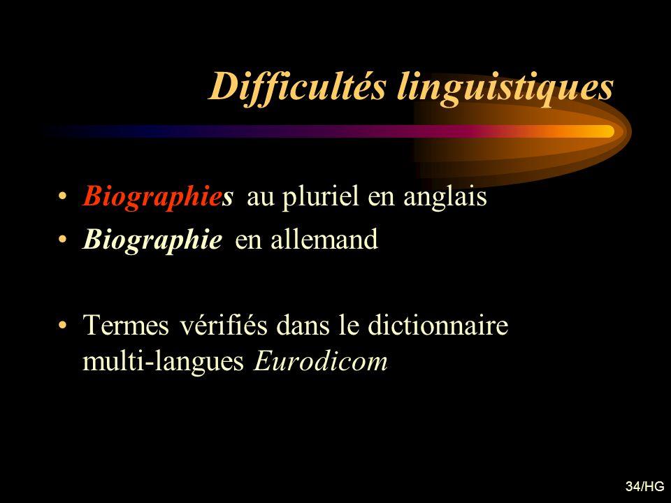 Difficultés linguistiques