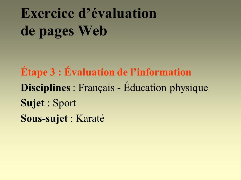 Exercice d'évaluation de pages Web