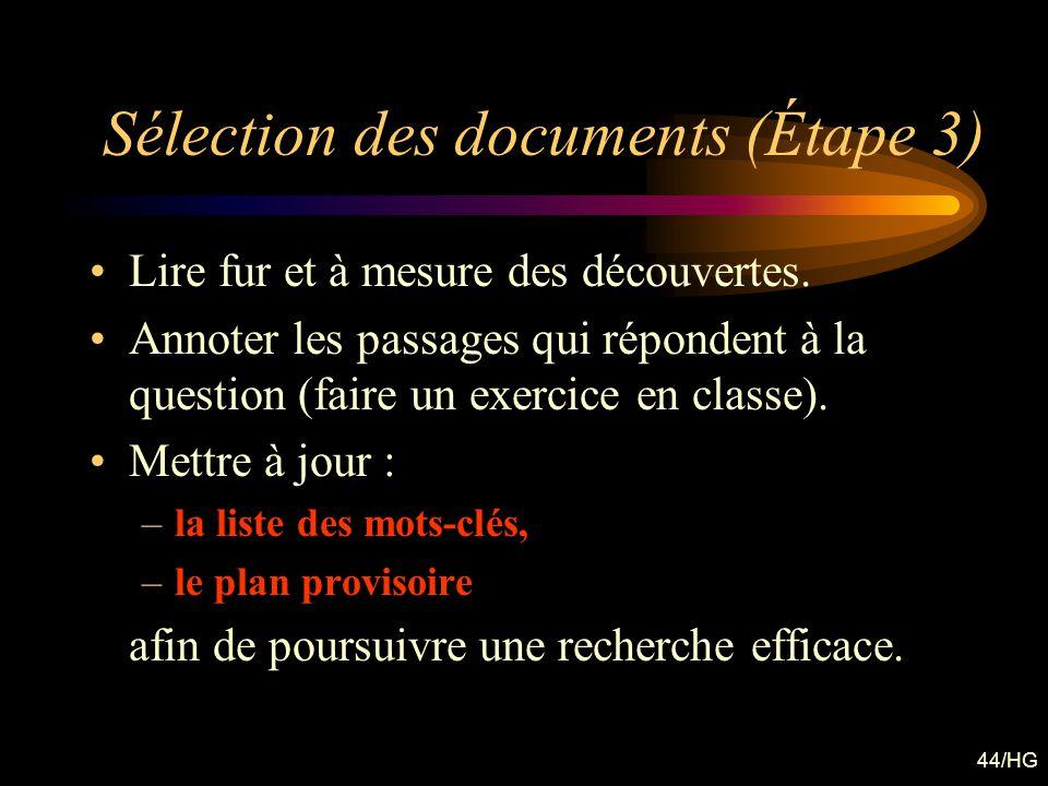 Sélection des documents (Étape 3)