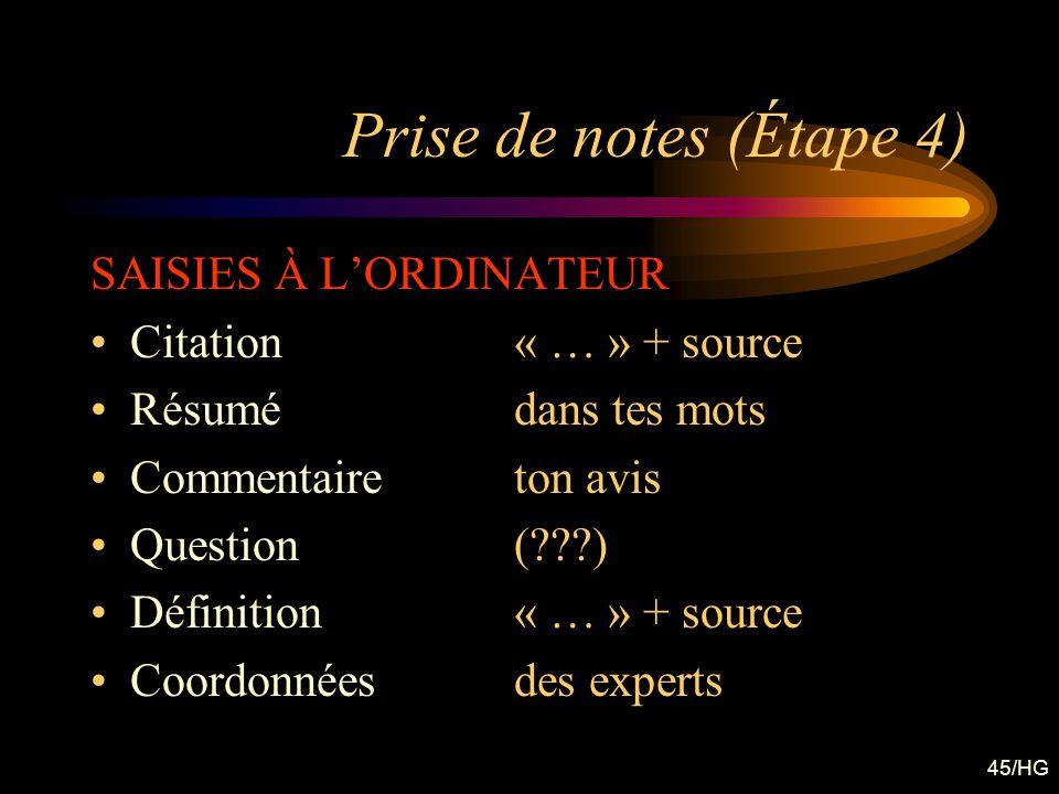 Prise de notes (Étape 4) SAISIES À L'ORDINATEUR