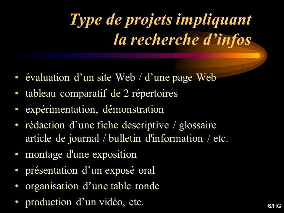 Type de projets impliquant la recherche d'infos