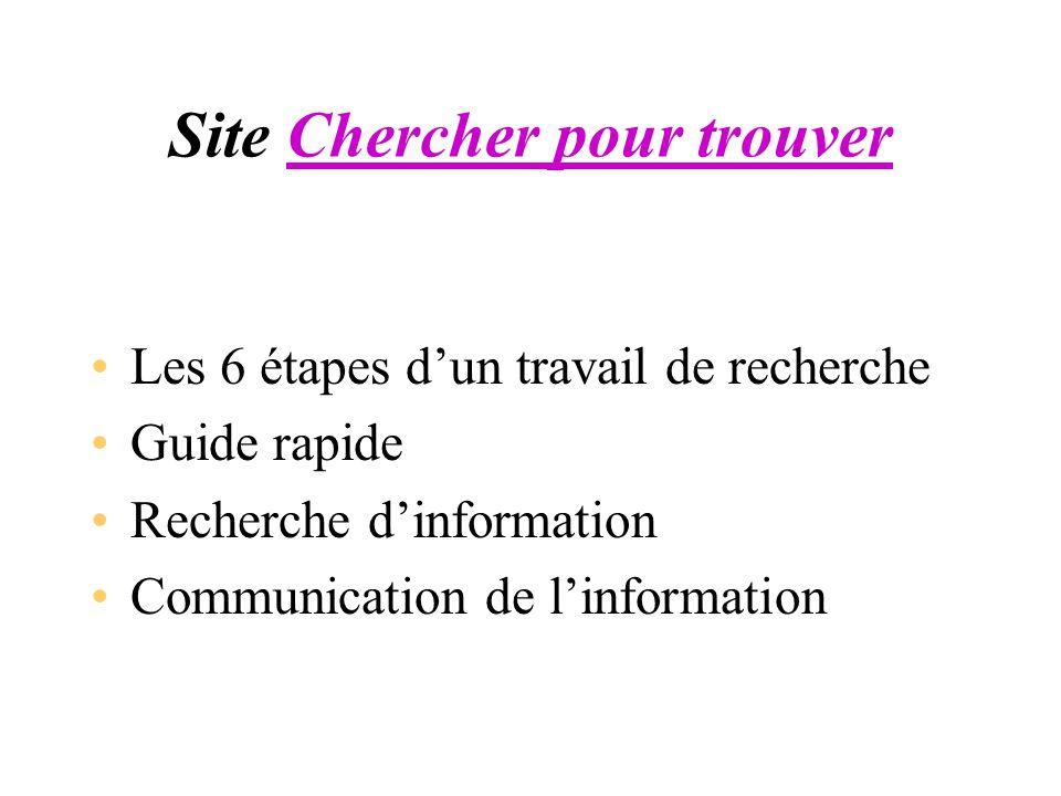 Site Chercher pour trouver