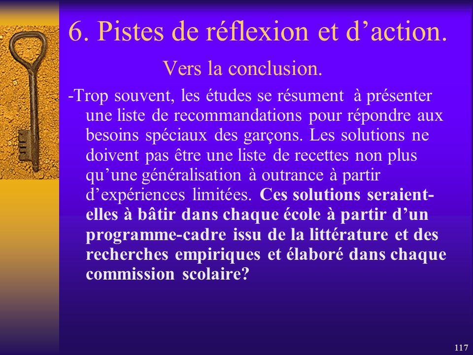 6. Pistes de réflexion et d'action. Vers la conclusion.