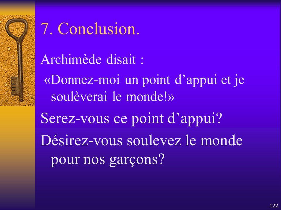7. Conclusion. Serez-vous ce point d'appui