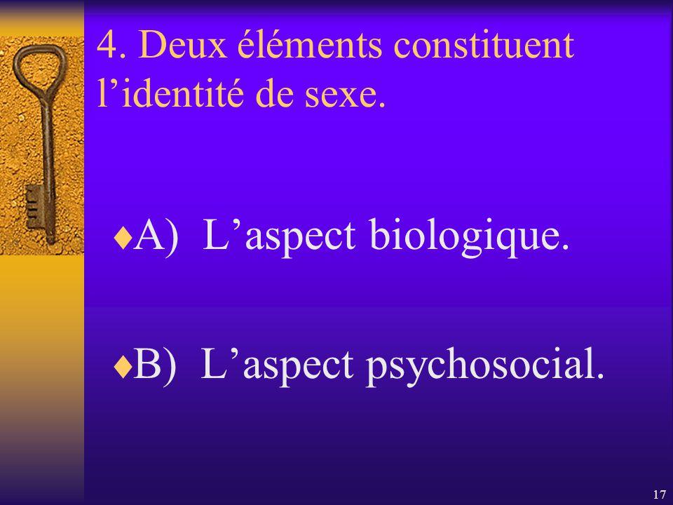 4. Deux éléments constituent l'identité de sexe.