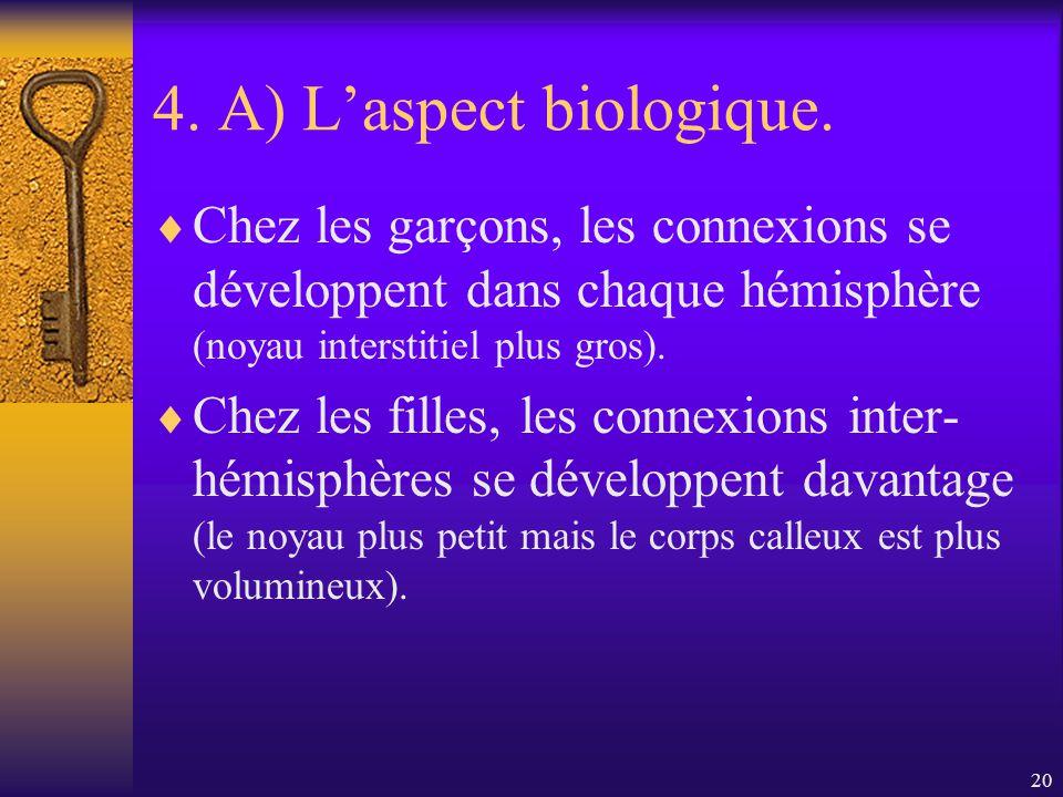 4. A) L'aspect biologique.