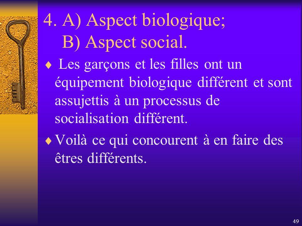 4. A) Aspect biologique; B) Aspect social.