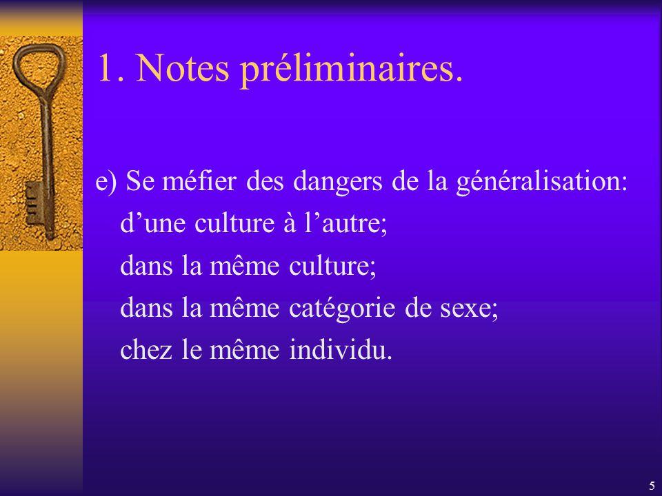 1. Notes préliminaires. e) Se méfier des dangers de la généralisation: