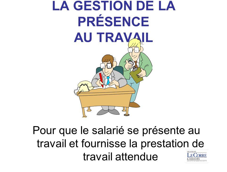 LA GESTION DE LA PRÉSENCE AU TRAVAIL