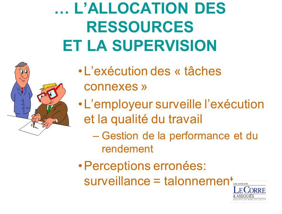 … L'ALLOCATION DES RESSOURCES ET LA SUPERVISION