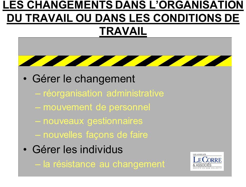 LES CHANGEMENTS DANS L'ORGANISATION DU TRAVAIL OU DANS LES CONDITIONS DE TRAVAIL