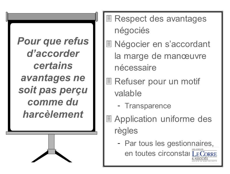 Respect des avantages négociés