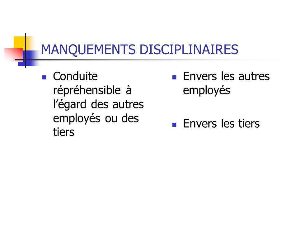 MANQUEMENTS DISCIPLINAIRES