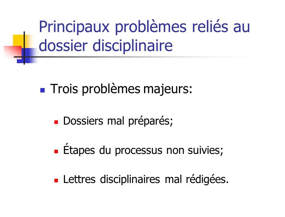 Principaux problèmes reliés au dossier disciplinaire