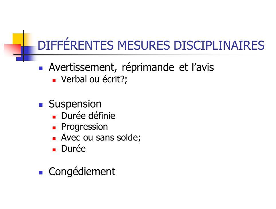 DIFFÉRENTES MESURES DISCIPLINAIRES
